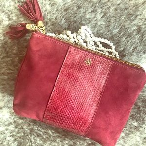 NWT AT Red Suede Clutch with Tassels
